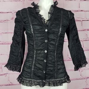 Betsey Johnson Ruched Lace Victorian Blouse